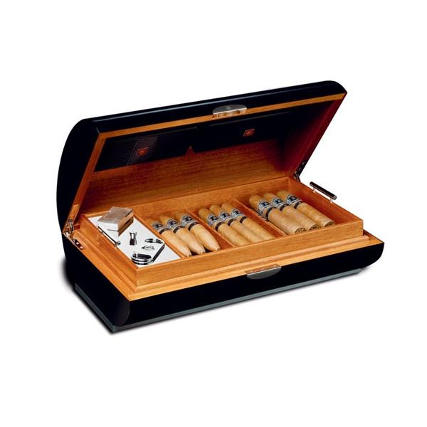 zino platinum cavern series humidor in black - Cigar Humidors