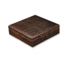 Davidoff Large Leather Type Croco Brown Travel Humidor