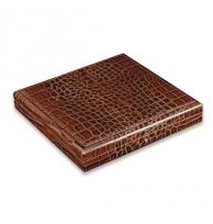 Davidoff Medium Leather Type Croco Brown Travel Humidor