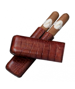 Davidoff Brown 'Croco' Leather Two Finger Corona Case