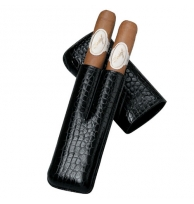 Davidoff Black 'croco' Leather Two Finger Corona Case