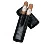 Davidoff Black 'croco' Leather Two Finger Corona Case