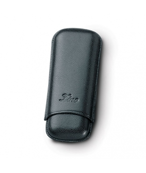 Zino Black Leather Two Finger Robusto Cigar Case