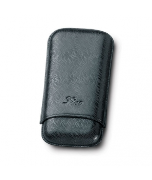 Zino Black Leather Three Finger Robusto Cigar Cases